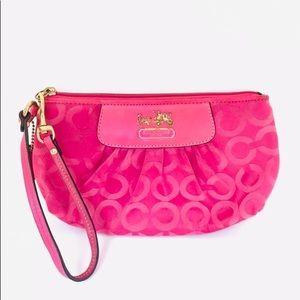Coach opt-art pink wristlet pouchette
